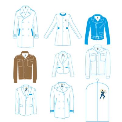 Stockage individuel sur cintre houssé de manteau blouson veste imperméable 3/4 homme femme